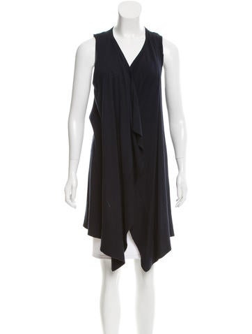 Magaschoni Sleeveless Open Front Sweater None