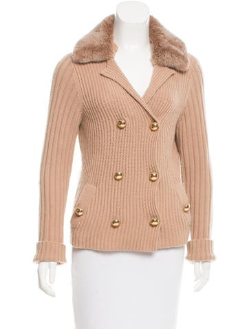 Magaschoni Fur-Trimmed Cashmere Cardigan None