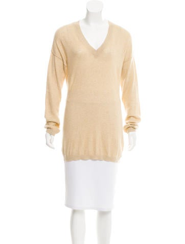 Magaschoni V-Neck Rib Knit Sweater None