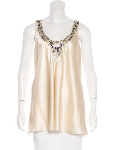 Magaschoni Silk Embellished Top None