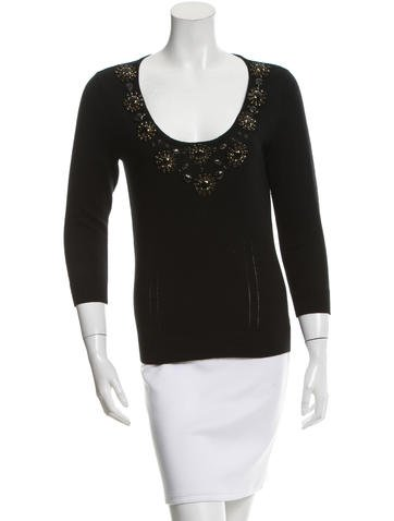 Magaschoni Beaded Rib Knit-Trimmed Sweater None