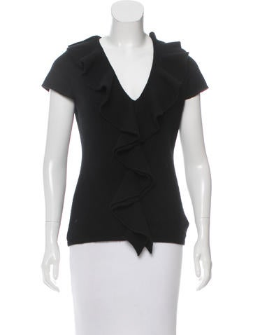 Magaschoni Cashmere Ruffle-Accented Top None