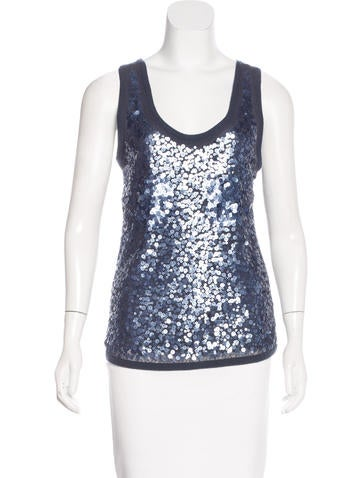 Magaschoni Sequined Cashmere Top None
