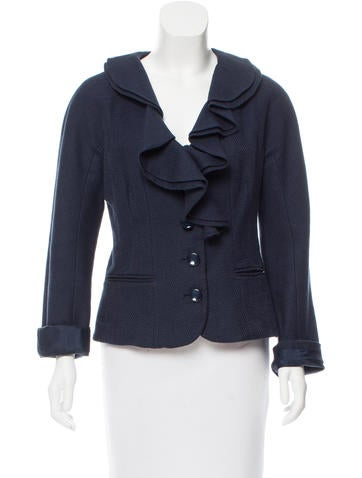 Magaschoni Ruffle-Trimmed Textured Jacket None