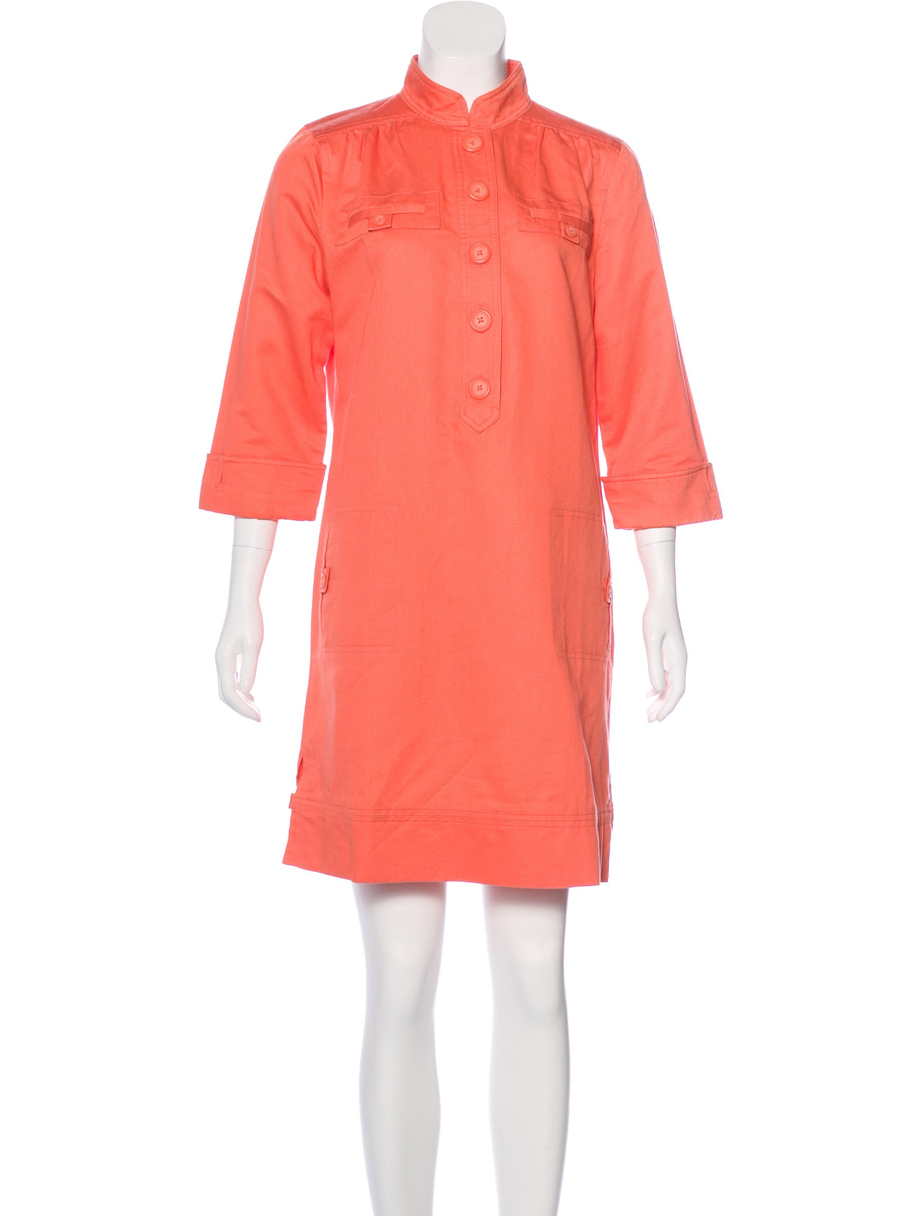Magaschoni stand collar mini dress clothing wn125050 for Stand collar shirt womens