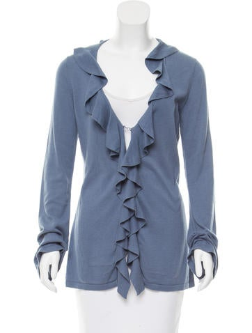 Magaschoni Ruffle-Trimmed Knit Cardigan None