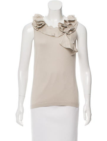 Magaschoni Silk & Cashmere-Blend Sleeveless Top None