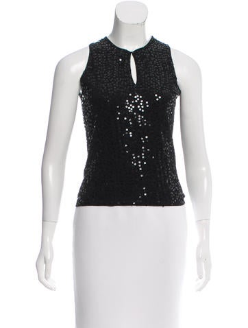 Magaschoni Silk Sequin-Embellished Top None