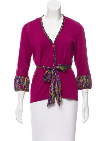 Magaschoni Silk-Blend Button-Up Cardigan None