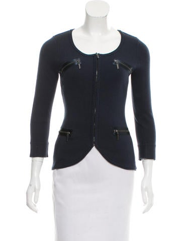 Magaschoni Knit Zip-Up Cardigan None