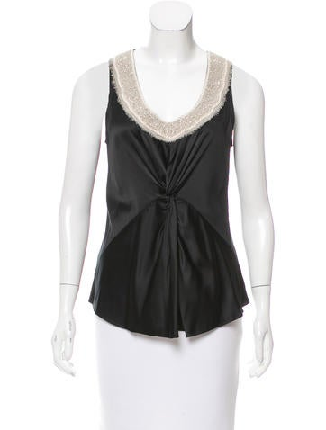Magaschoni Embellished Silk Top None