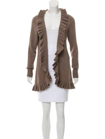 Magaschoni Cashmere Ruffle-Trimmed Cardigan w/ Tags None