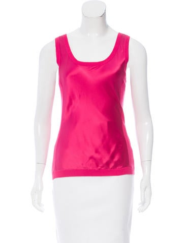 Magaschoni Sleeveless Silk-Paneled Top None