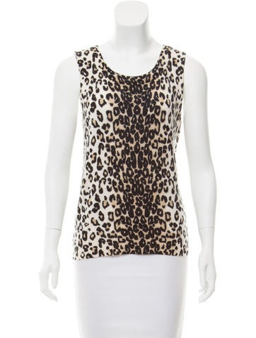 Magaschoni Animal Print Cashmere Top None