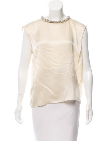Magaschoni Embellished Silk Top w/ Tags None
