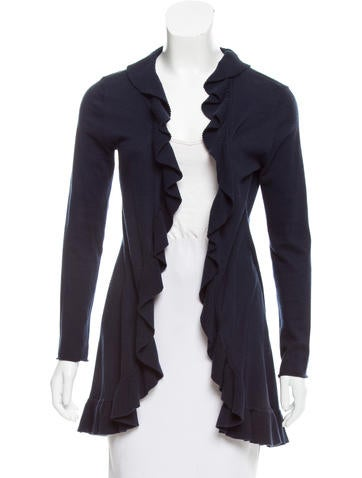 Magaschoni Cashmere Ruffle-Trimmed Cardigan None