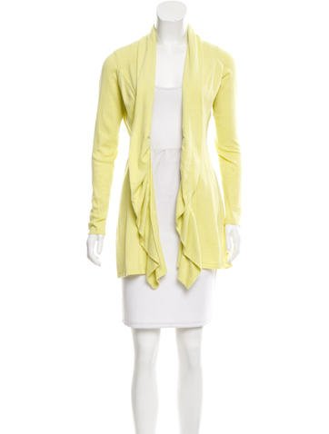 Magaschoni Ruffle-Accented Knit Cardigan None