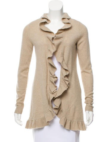 Magaschoni Ruffle-Trimmed Cashmere Cardigan None