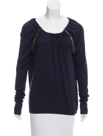Magaschoni Embellished Silk Sweater None