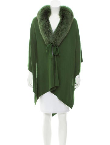 Magaschoni Fox-Trimmed Cashmere Poncho w/ Tags None