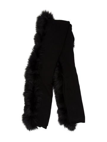 Magaschoni Fur-Trimmed Cashmere Shawl w/ Tags None