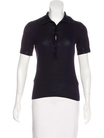 Magaschoni Bead-Embellished Knit Top None