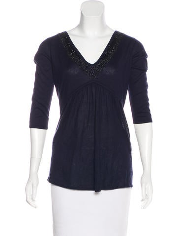 Magaschoni Silk & Cashmere-Blend Top w/ Tags None