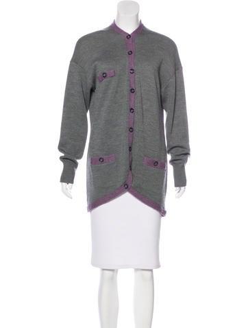 Magaschoni Rib Knit Wool Cardigan None