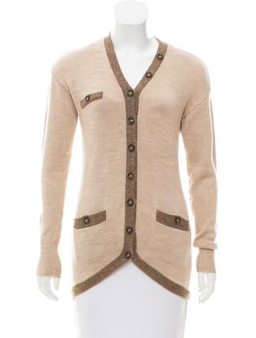 Magaschoni Rib Knit Wool Cardigan None