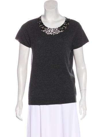 Magaschoni Cashmere Embellished Top None