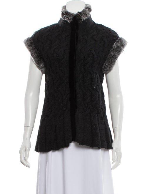 Magaschoni Fur-Trimmed Cable Knit Cardigan Black