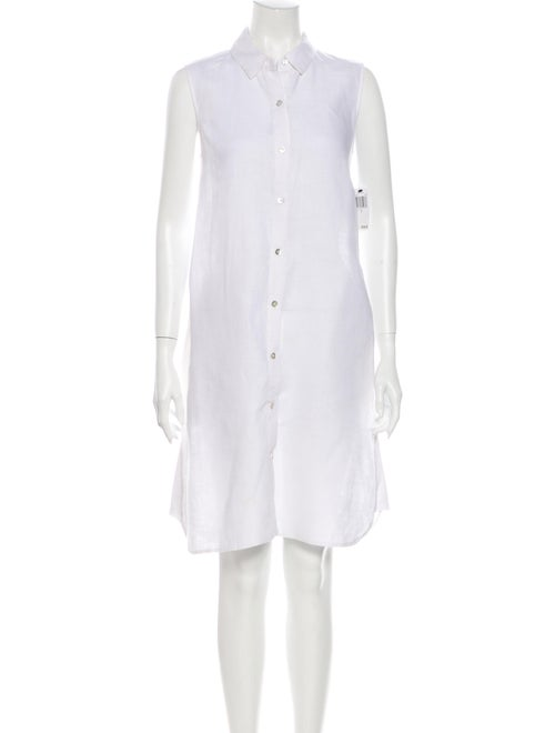 Magaschoni Linen Knee-Length Dress White - image 1