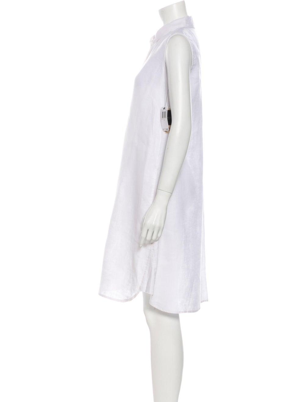 Magaschoni Linen Knee-Length Dress White - image 2