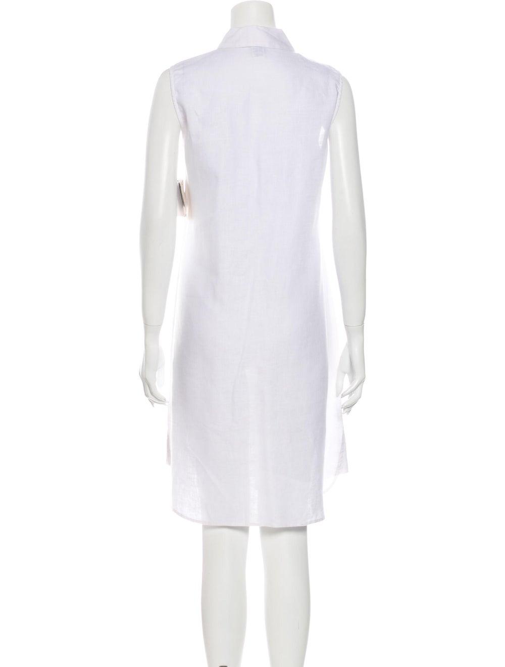 Magaschoni Linen Knee-Length Dress White - image 3