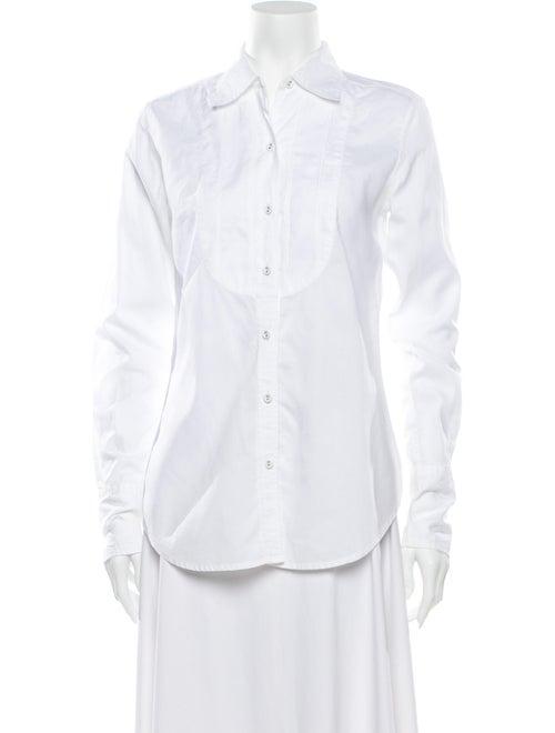Nili Lotan Long Sleeve Button-Up Top White