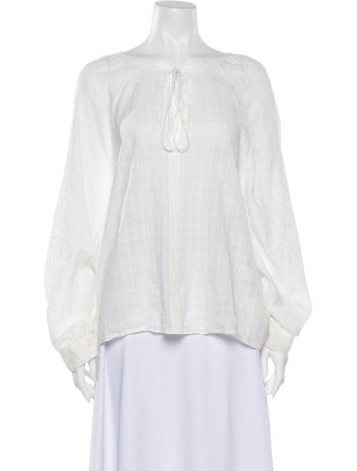 Nili Lotan V-Neck Long Sleeve Blouse White