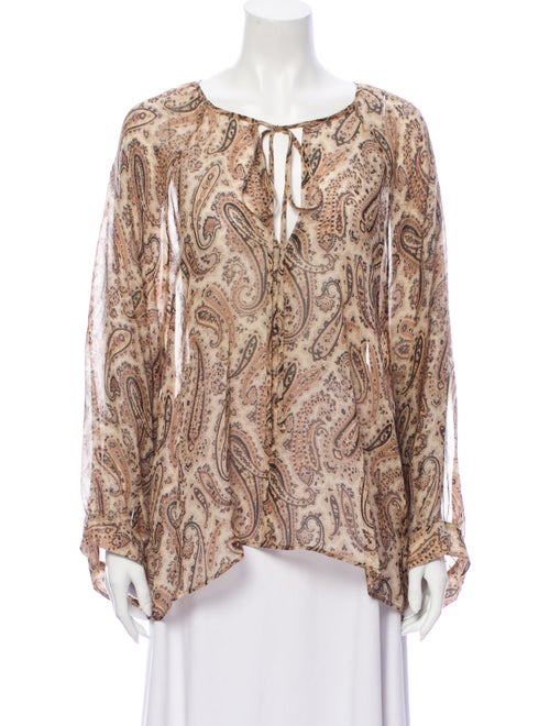 Nili Lotan Silk Paisley Print Blouse Brown