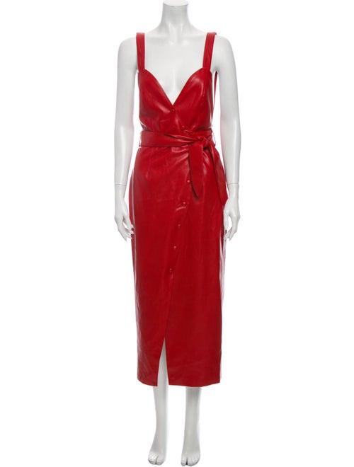 Nanushka Plunge Neckline Long Dress Red
