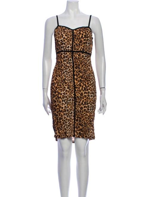 Nanushka Animal Print Mini Dress Brown