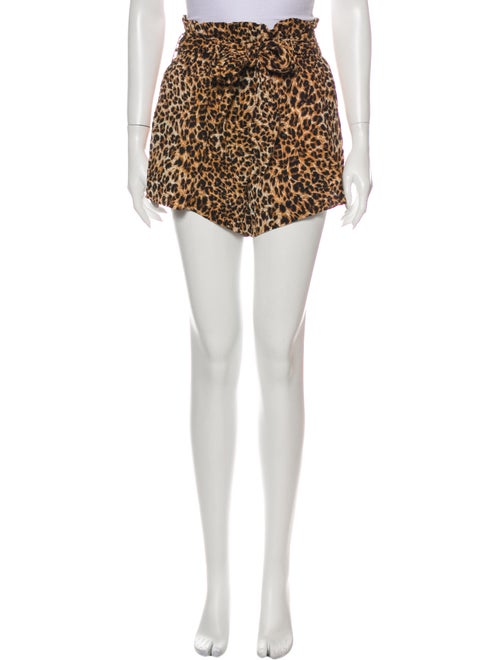 Nanushka Animal Print Mini Shorts Brown