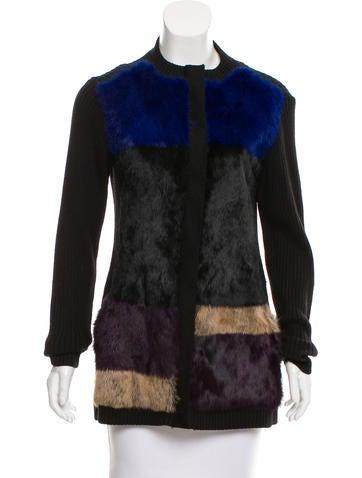 Nanette Lepore Fur-Trimmed Rib Knit Cardigan None