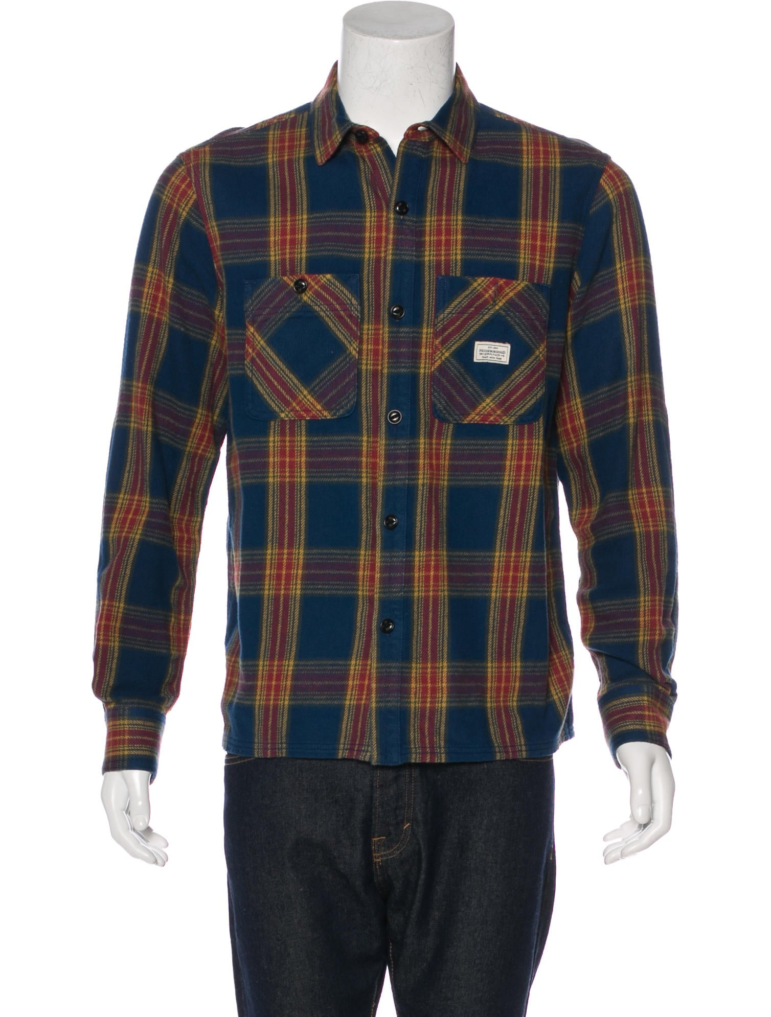 Neighborhood plaid flannel shirt clothing wnbhd20030 for Mens yellow plaid flannel shirt