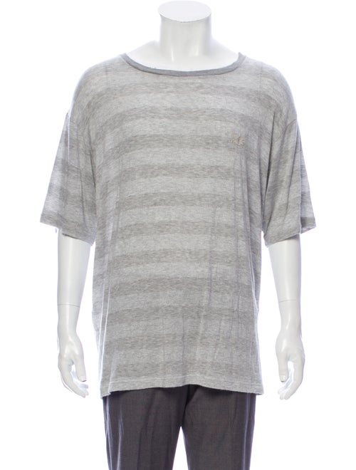 Needles Striped Crew Neck T-Shirt Grey