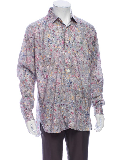 Needles Floral Print Long Sleeve Shirt Grey - image 1