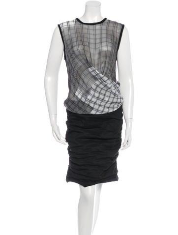 Nicole Miller Plaid Draped Dress w/ Tags
