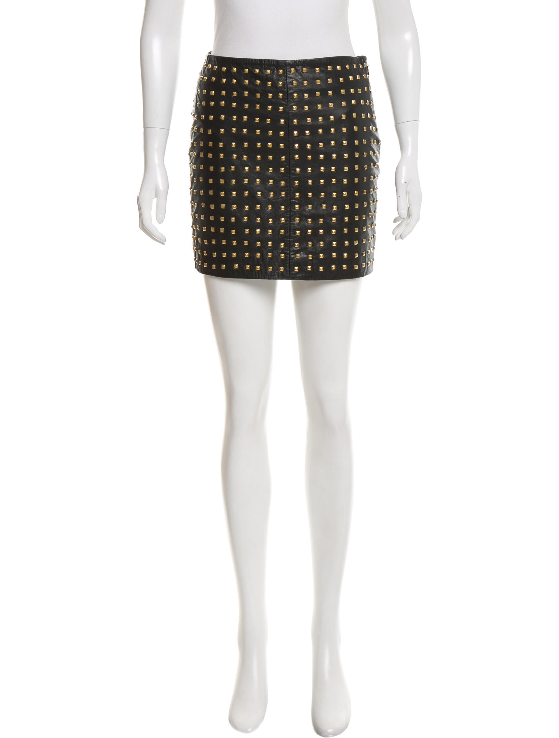 nicole miller embellished leather skirt clothing