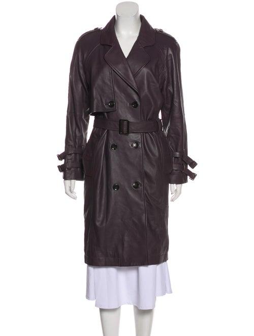 Nicole Miller Leather Trench Coat Purple