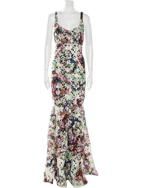 Nicole Miller Floral Print Long Dress