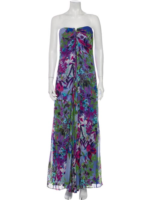 Nicole Miller Floral Print Long Dress Purple
