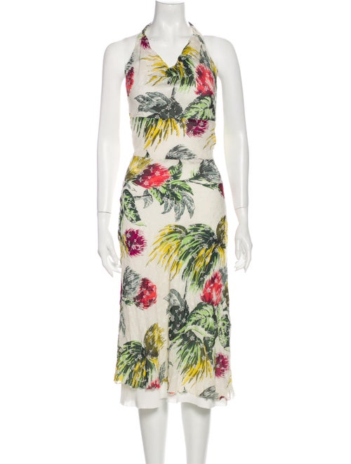 Nicole Miller Floral Print Midi Length Dress Green